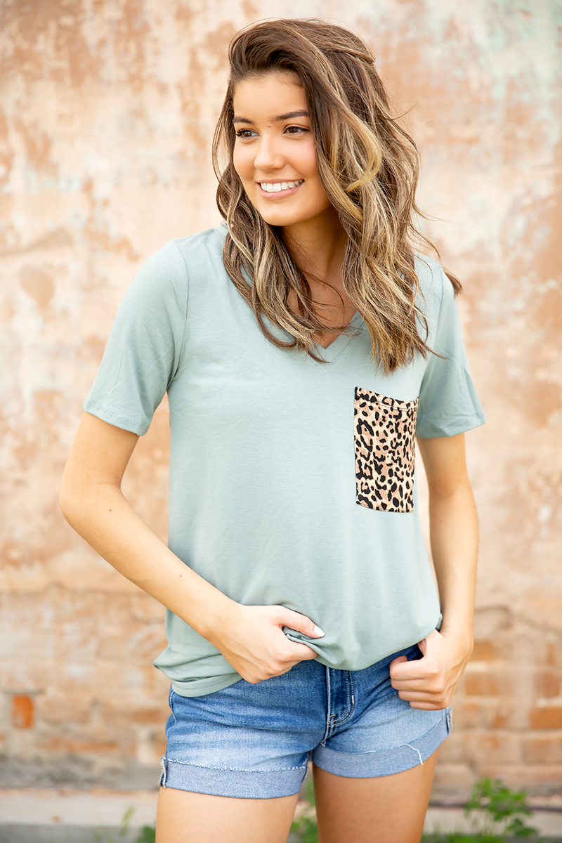 Enjoy It Top with Animal Print Pocket in Dusty Blue
