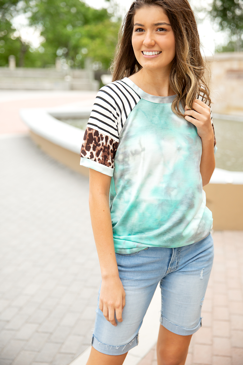 Tell Me About It Tie Dye Top In Aqua and Gray with Animal Print