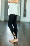 Black Leggings With Criss Cross Detail