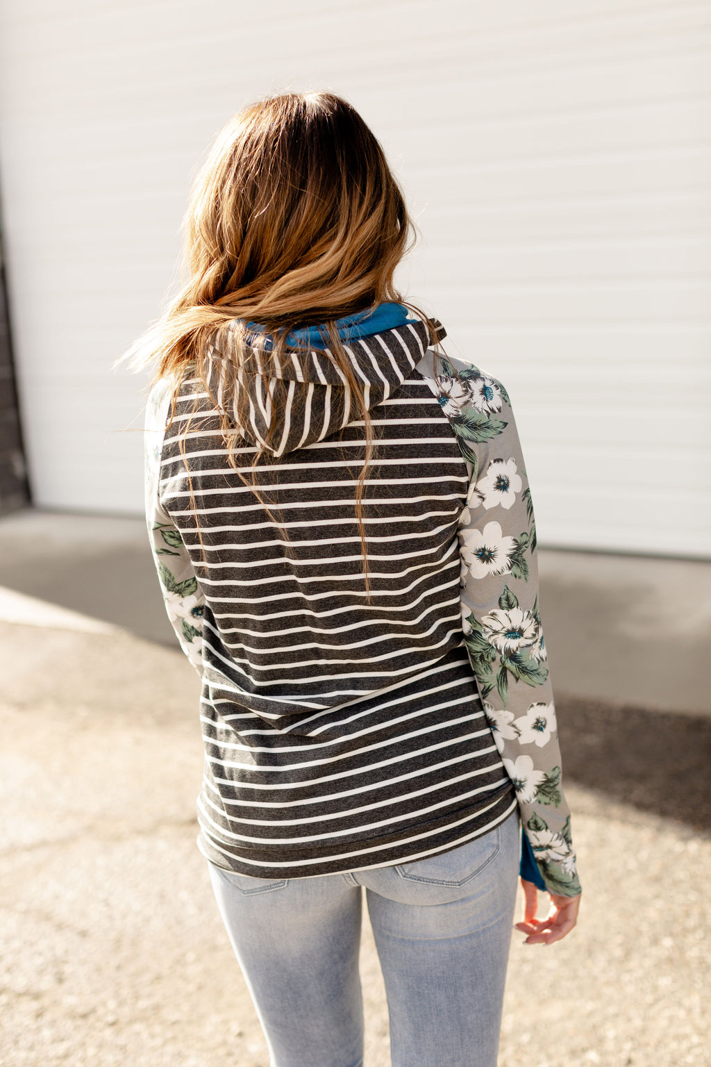 Ampersand Ave Give and Take DoubleHood Sweatshirt in Floral and Stripes