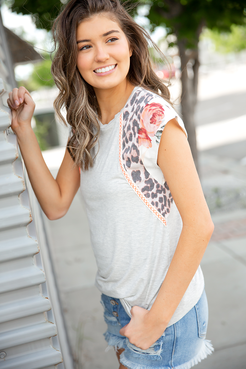 Best Of Friends Mixed Floral, Animal Print and Neon Top in Gray (SALE)