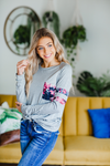 Follow Your Heart Heather Gray Long Sleeve with Floral Details