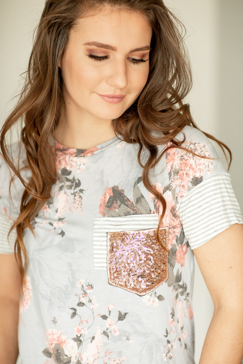 Believe In Me Sequin Pocket Floral Top in Lavender