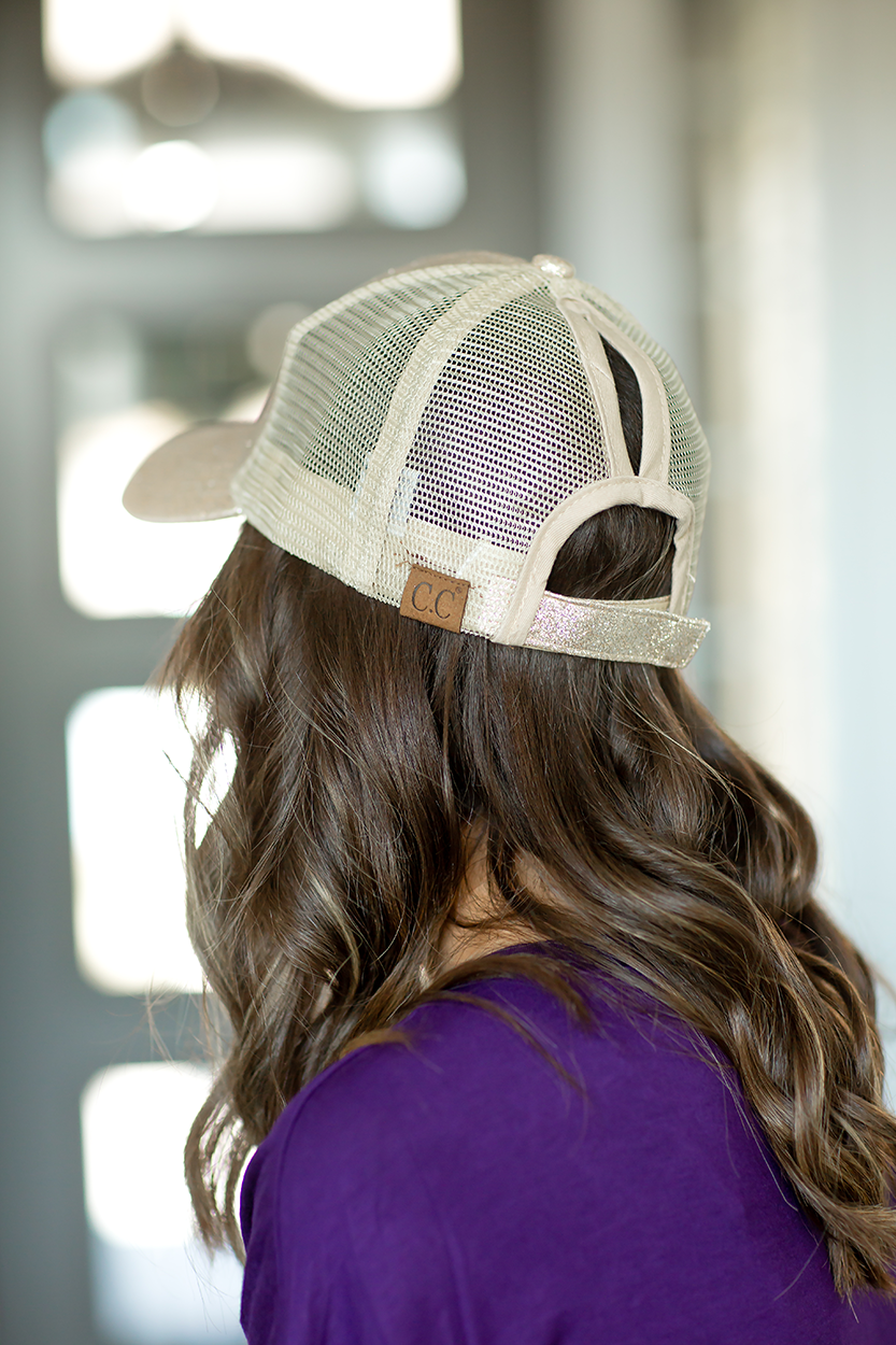CC Mesh Ponytail Baseball Cap in Gold Sparkle