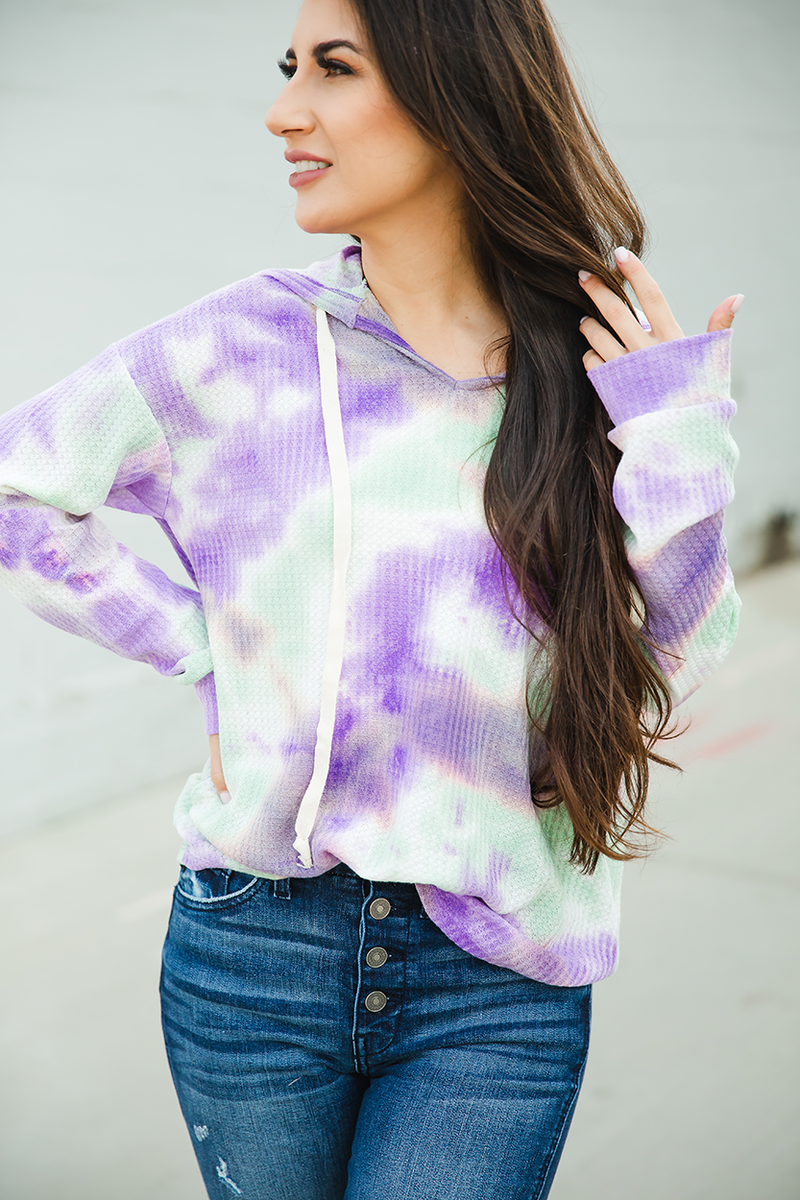 Here We Go Purple and Mint Tie Dye Hoodie