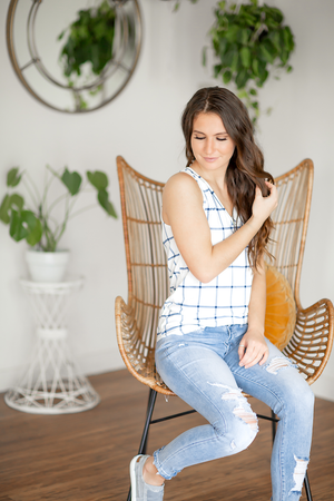 Easy Living Striped Tank White and Navy