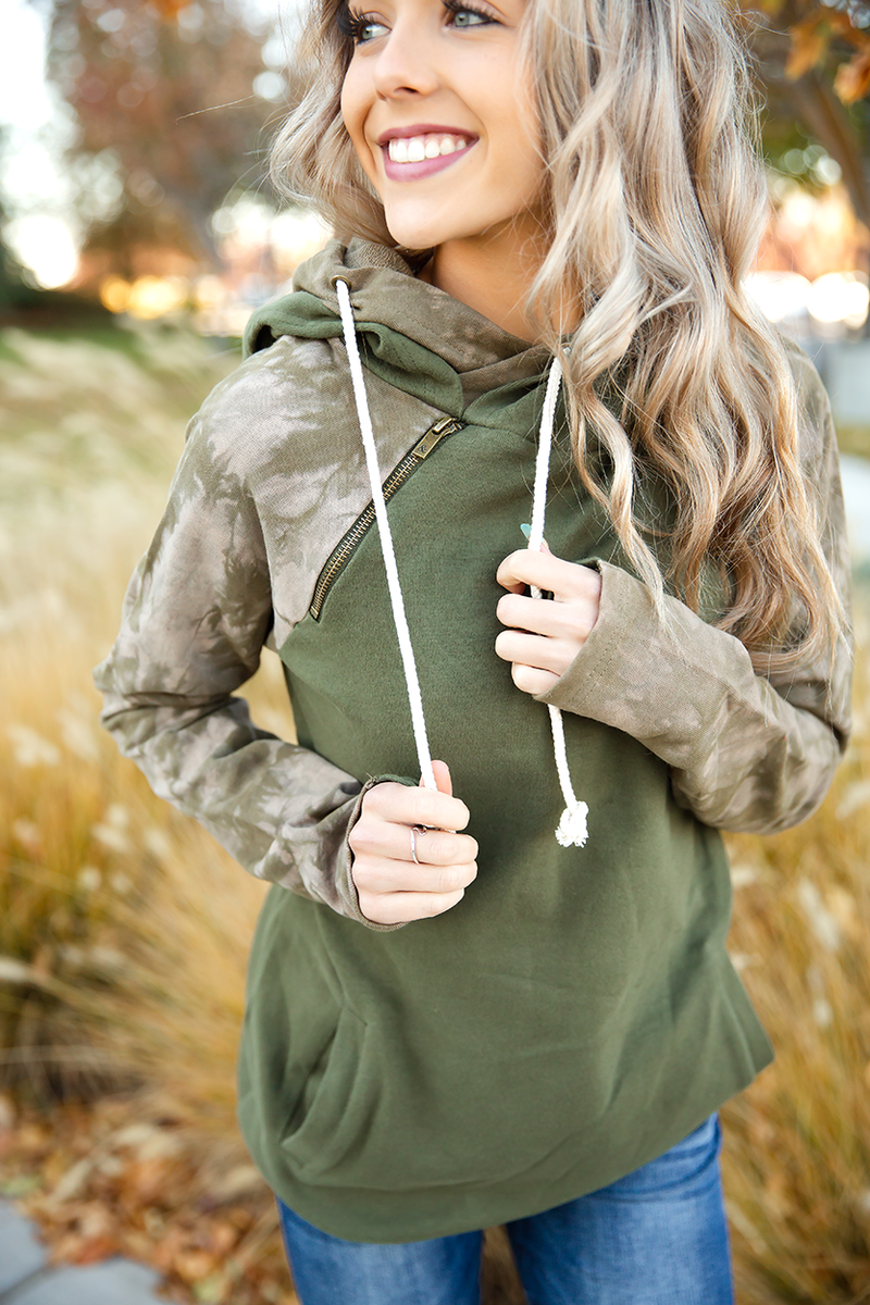 Ampersand Ave Olive You So Much DoubleHood Sweatshirt in Olive