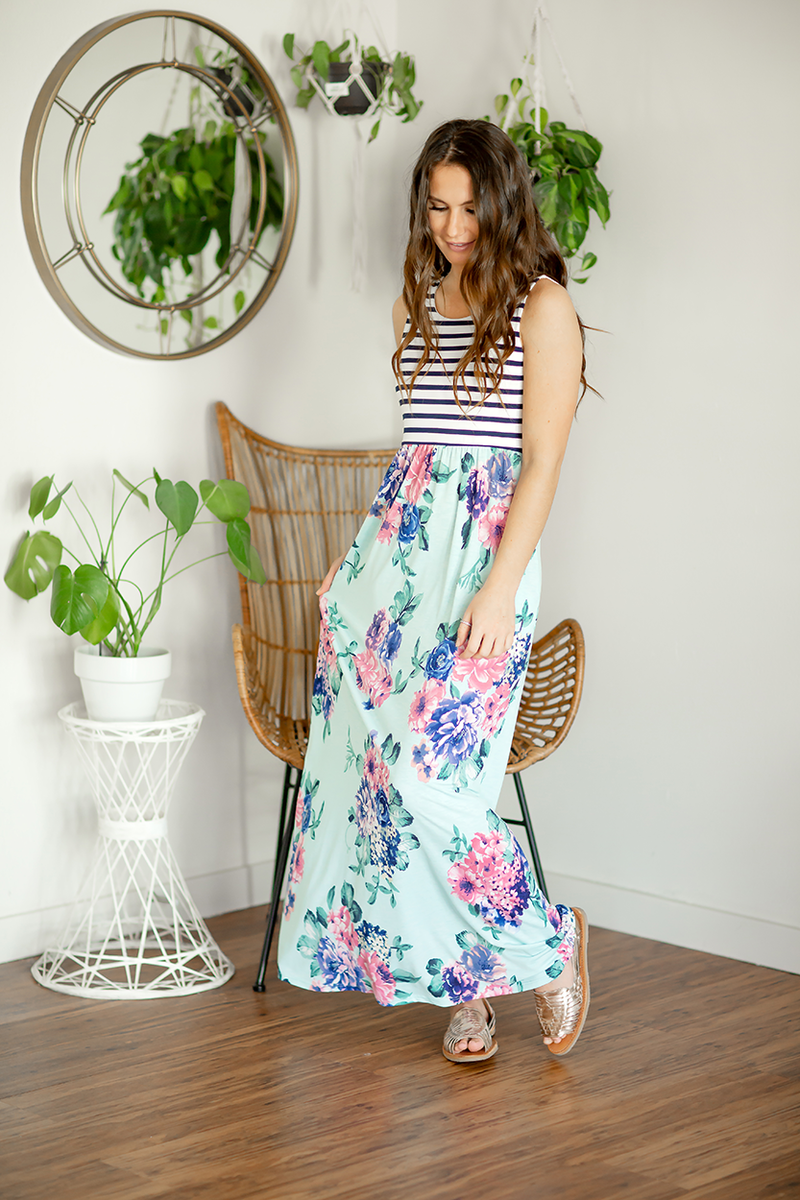 Feeling Fabulous Striped and Mint Floral Maxi Dress