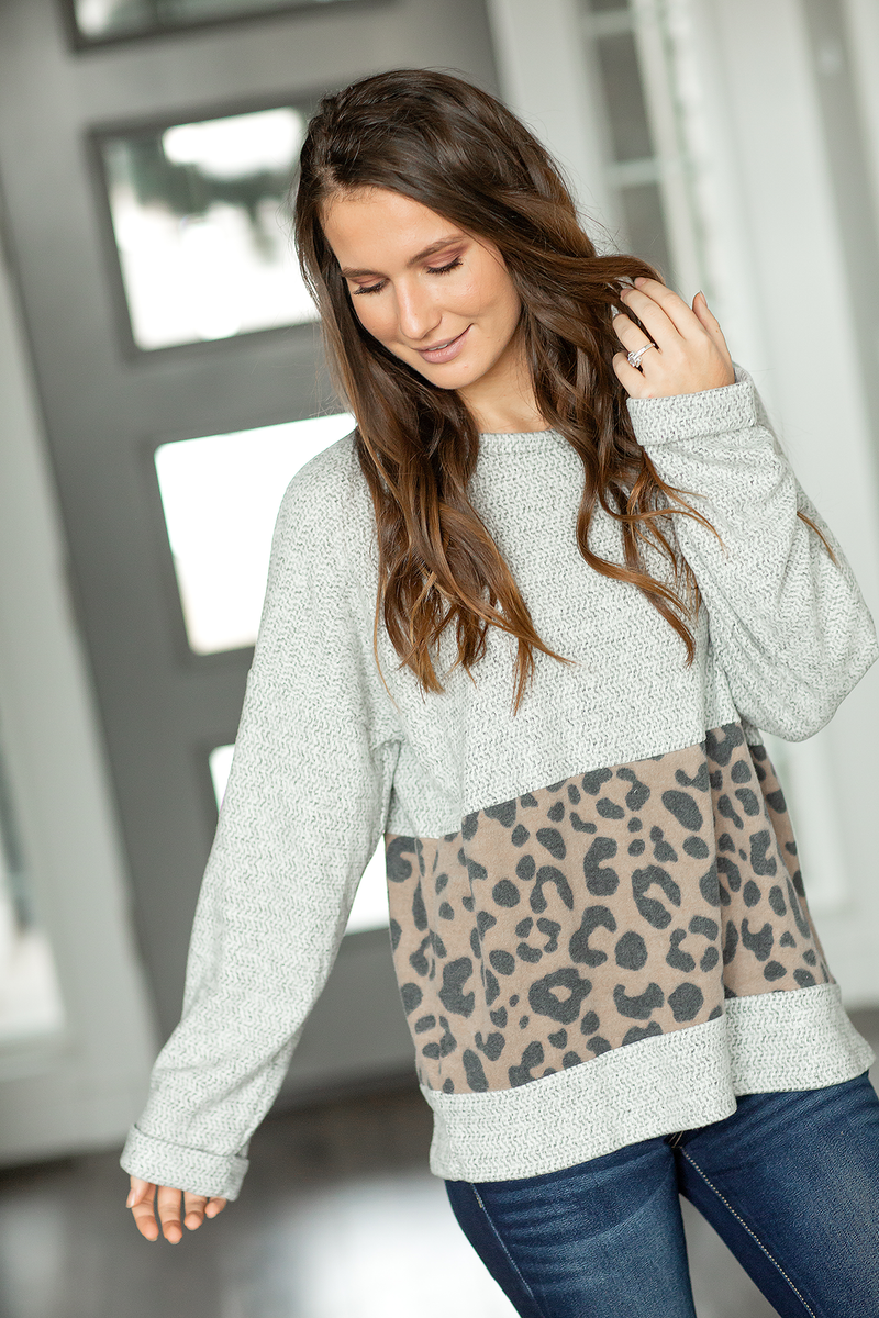 On Top Of The World Top With Animal Print in Gray