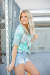 Always By Your Side Mint and Grey Tie Dye Top