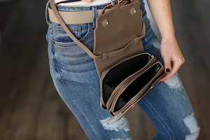 Happy To Be Here Cross Body Bag in Dark Taupe