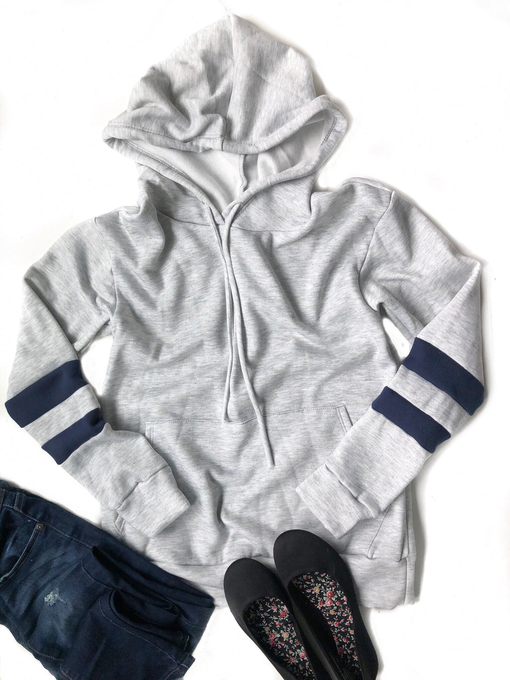 Just Enjoy It Navy Striped Hoodie in Gray