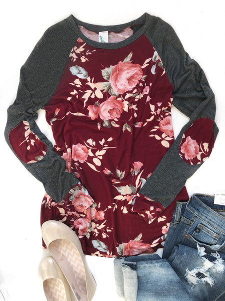Finishing Touch Burgundy Floral Top With Elbow Patches