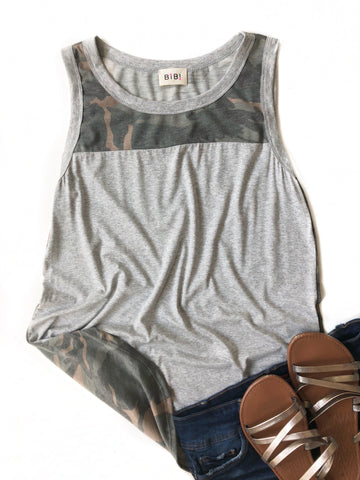 Final Answer Gray Tank With Camo Back
