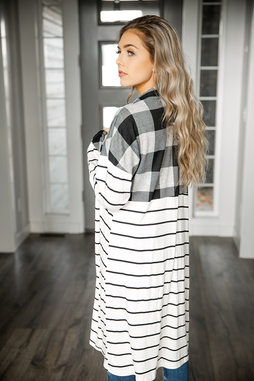 Thin White Lies Cardigan with Buffalo Plaid and Stripes