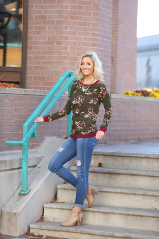 On The Double Floral Top in Olive (SALE)