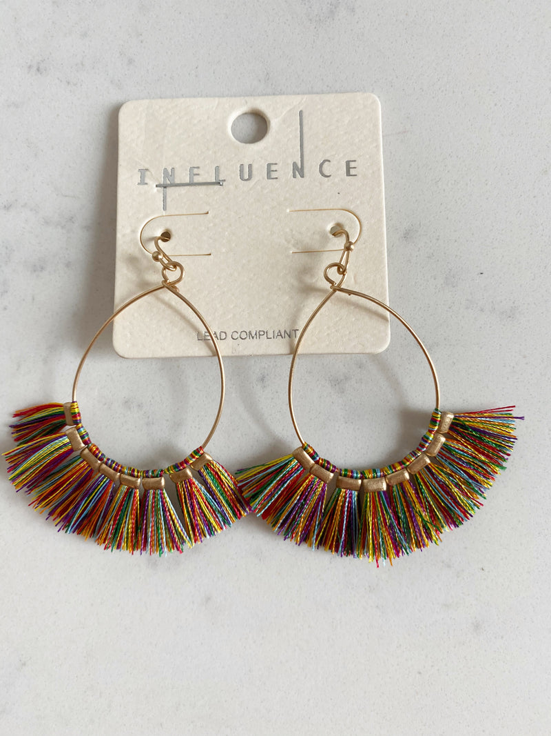 Ashley Fringe Earrings in Rainbow