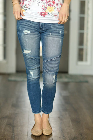KanCan Moto Denim Jeans in Medium Wash