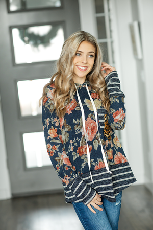 Lesson Learned Double Pocket Hoodie in Navy Floral and Stripes (SALE)
