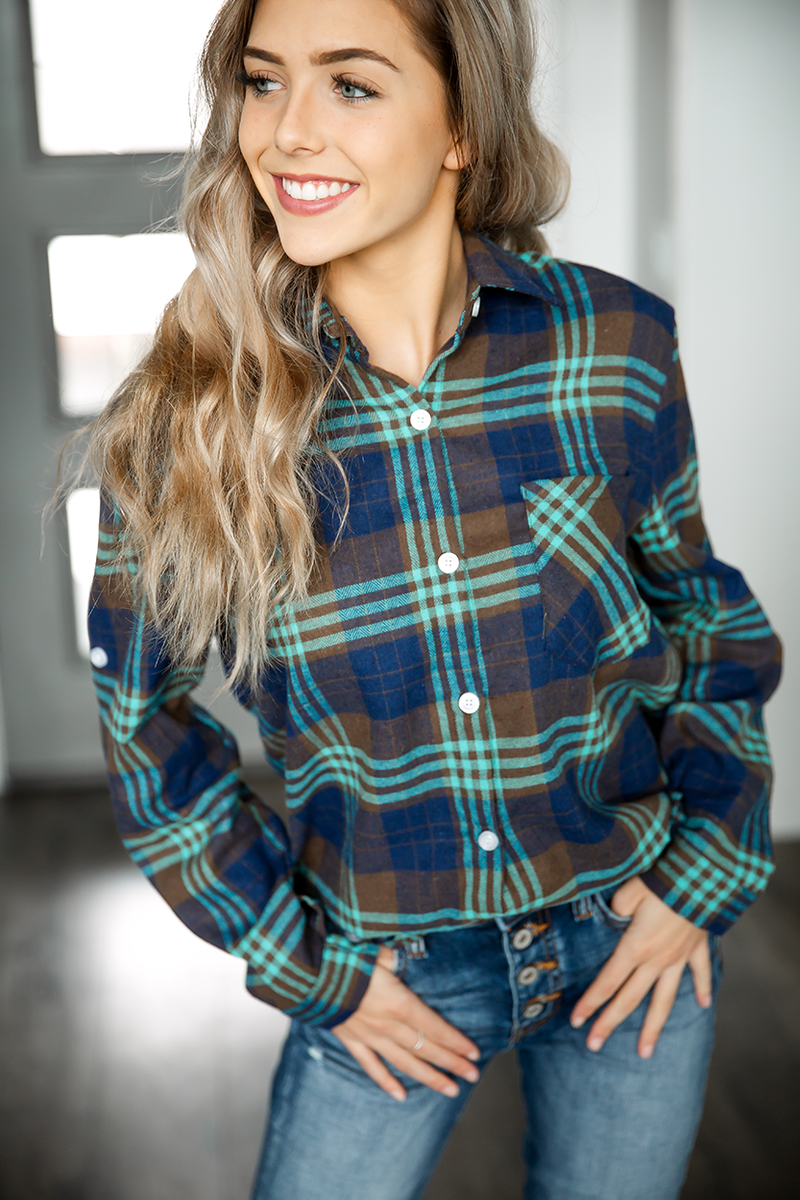 Dance Anyway Plaid Button Up in Blue and Mint