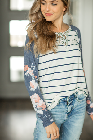 Just To Talk Floral Top in Stripes