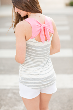 Enjoy The Party Gray Striped Top With Pink