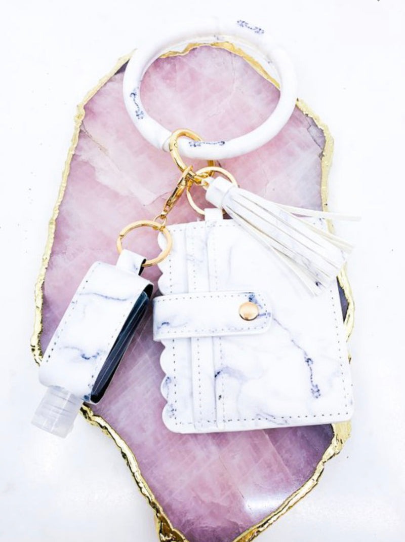 Card Holder Key Chain with Sanitizer in White Marble