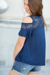 All About The Lace Cold Shoulder Top (Multiple Colors)