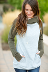 Double Hooded Sweatshirt in Olive, Pink and Gray