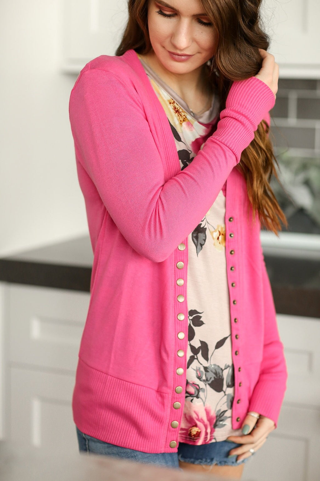Cute As a Button Snap Cardigan in Pink