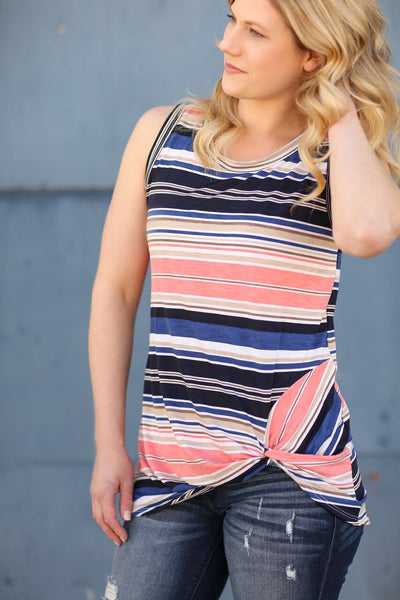 Good Days Ahead Striped Tank in Coral (SALE)