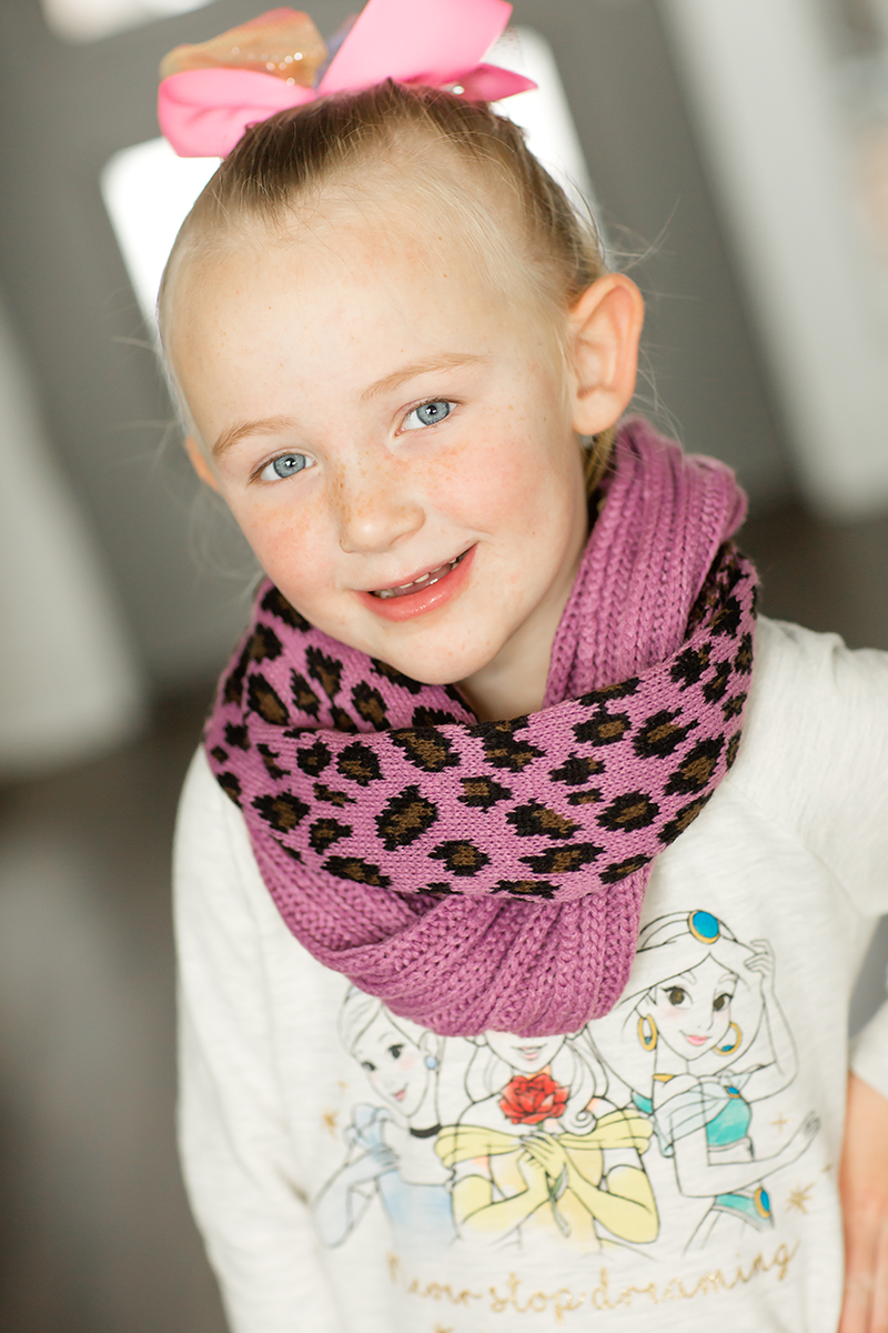 Just Like Mom KIDS CC Infinity Scarf in Purple Animal Print