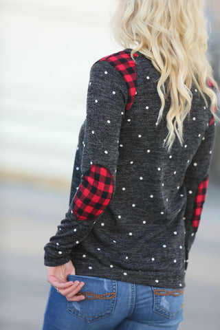Carefree and Perfect Polka Dot Top with Plaid Details