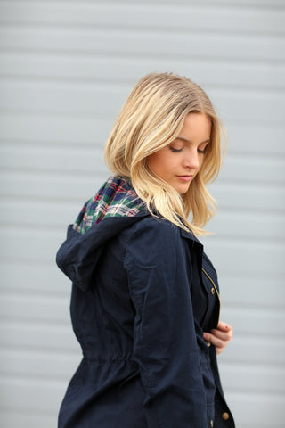 Navy Cargo Jacket With Plaid Details