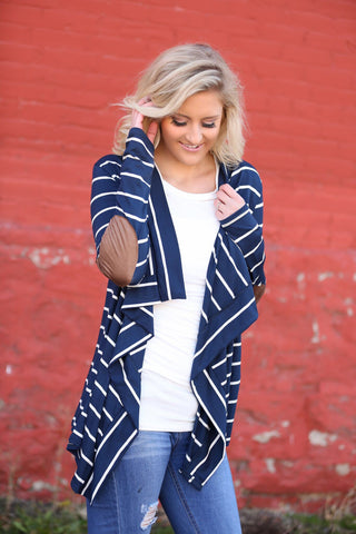 In The Moment Striped Cardigan in Navy (SALE)
