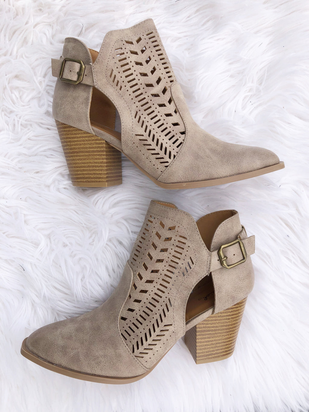 Stand Out Detailed Booties in Taupe (SALE)