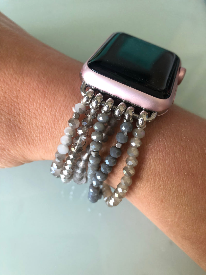 Cassie Apple Watch Band in Gray Beads