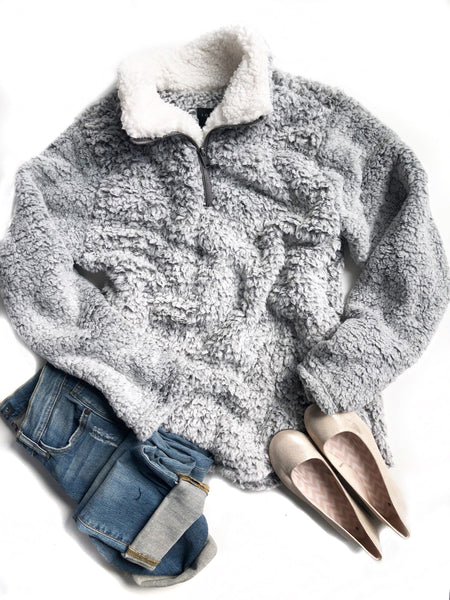 Lazy Mornings Faux Fur Sherpa Pullover in Gray