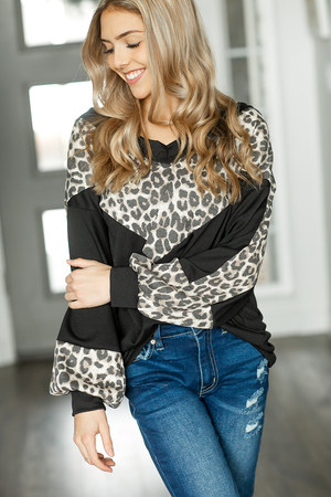 No Time Top in Black with Animal Print