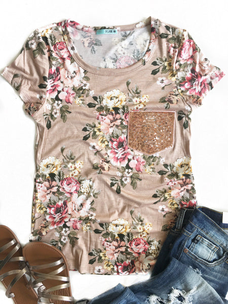 Sparkle Of My Eye Floral Top With Sequin Pocket