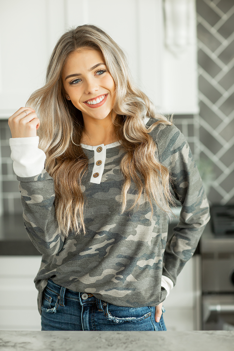 Middle of the Song Camo Top with Buttons