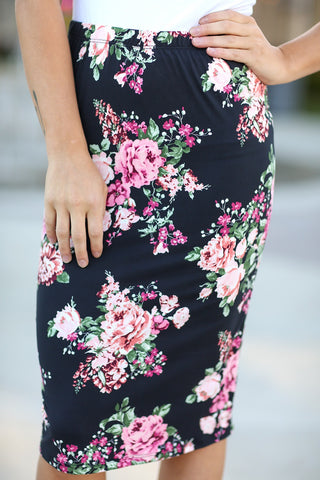 Lovers Lane Black Floral Skirt