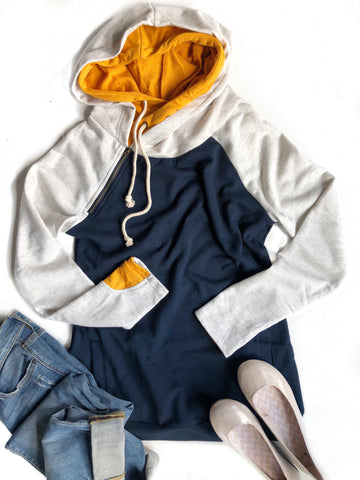 Always a Favorite Double Hooded Sweatshirt in Navy and Mustard