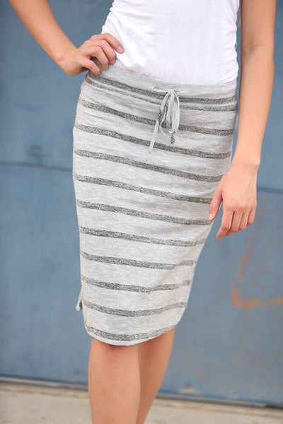 Warm Days Ahead Skirt in Striped Gray