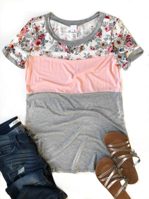 Just A Crush Color Block Tee in Blush