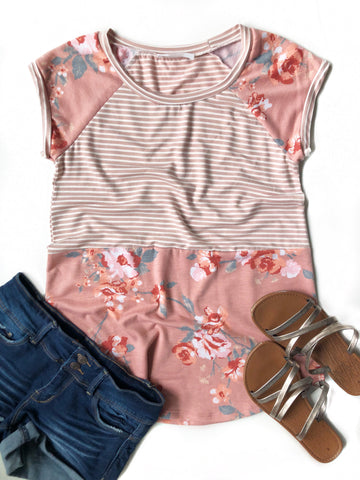 Trendsetter Striped and Floral Top in Mauve (SALE)