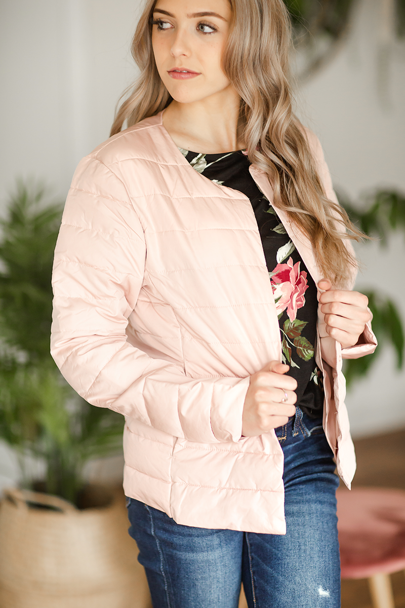 Only You Puffer Jacket in Blush