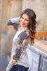 Greatest Love Story Floral Sleeve Top in Gray