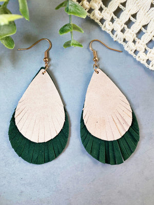 Beige and Olive Leather Earrings