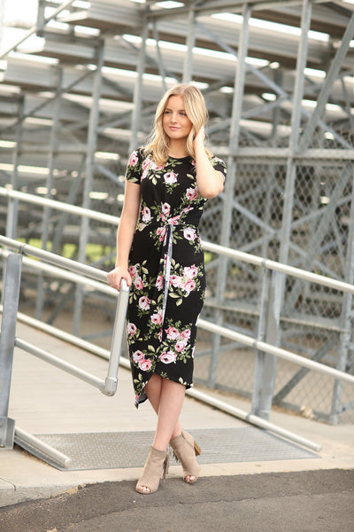 Beneath The Stars Floral Dress in Black